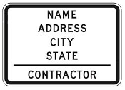 "Contractor Info Sign 48"" x 30"""